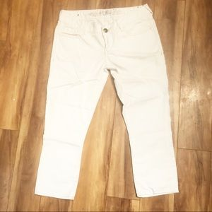 Express | 🌺White Denim Cropped Skinny Jeans